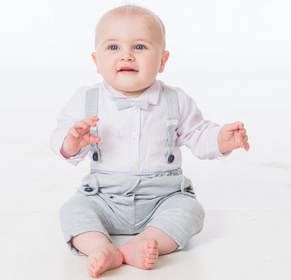 Baby Boys Light Grey Brace Bow Tie Outfit