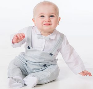 Baby Boys Light Grey Romper Bow Tie Outfit