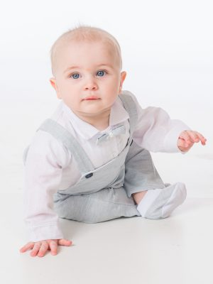 Baby Boys Suits Baby Boys Light Grey Romper Bow Tie Outfit