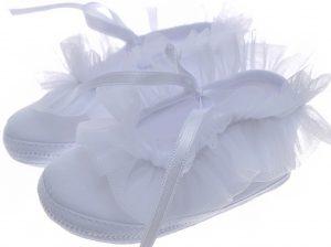 Early Steps Girls White Ruffle Soft