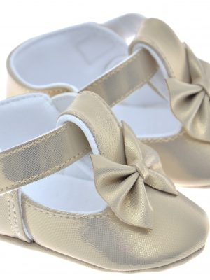 Girls Shoes Early Steps Girls Gold Soft Bow Shoe