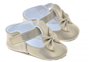 Early Steps Girls Gold Soft Bow Shoe