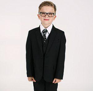 Boys 5 Piece Black Suit Bruce