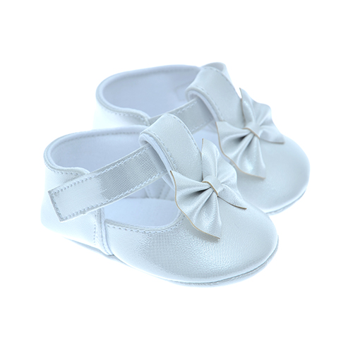 Early Steps Girls White Soft Bow Shoe