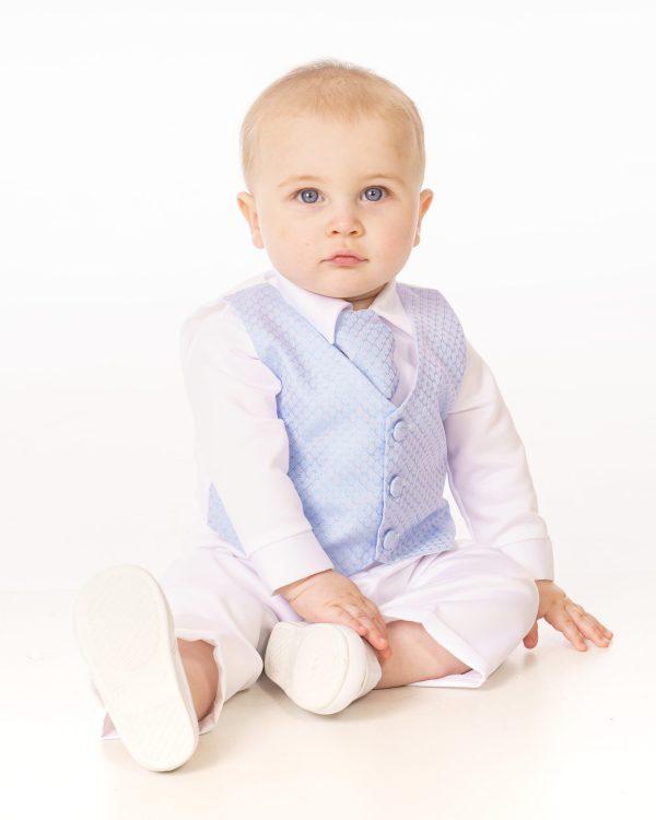 4 Piece Christening Suit in Blue