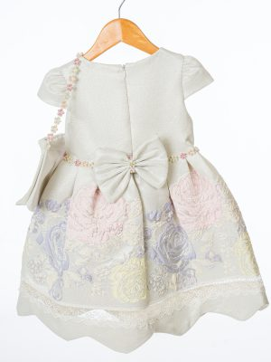 Girls Girls Ivory and Purple Floral Dress