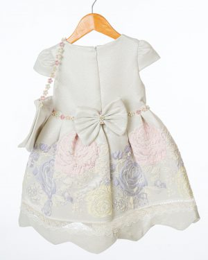 Girls Ivory and Purple Floral Dress