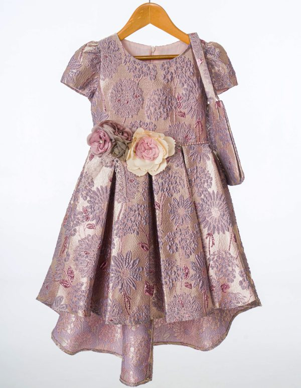 Girls Purple Floral Shimmer Dress