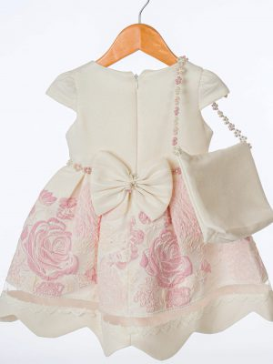 Girls Girls Ivory and Pink Floral Dress
