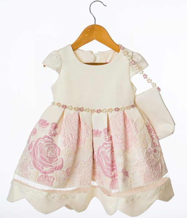 Girls Ivory and Pink Floral Dress
