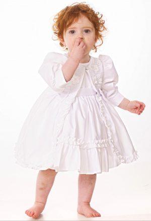 Baby Girls White Flower Jacket Dress