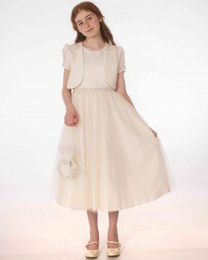 Girls Ivory Dress With Bolero & Bag