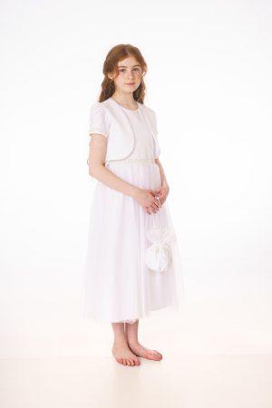 Girls White Dress With Bolero & Bag