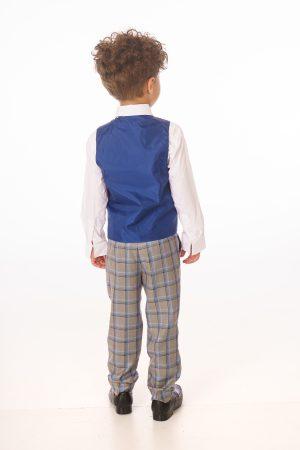 Baby Boys 5 Piece Grey Check Suit