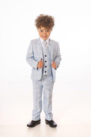 Baby Boys 5 Piece Light Blue Check Suit