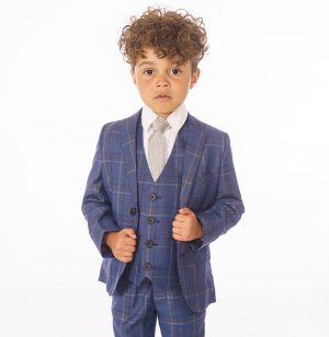 Baby Boys 5 Piece Navy/White Check Suit