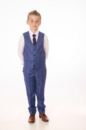Boys 5 Piece Blue/Black Check Suit