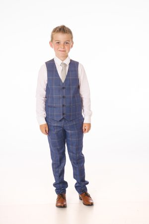 Boys 5 Piece Navy/White Check Suit