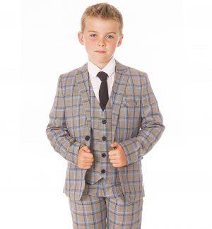 Boys 5 Piece Grey Check Suit