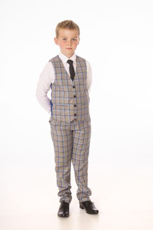 Boys 4 Piece Grey/Blue Check Suit