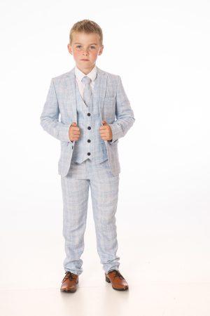 Boys 5 Piece Light Blue Check Suit